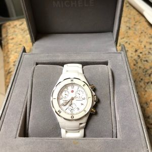 Authentic Michele White Ceramic Watch